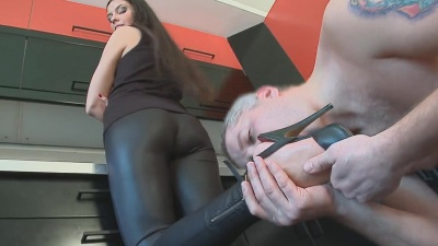 Mistress humiliating toilet cleaner and feet slave