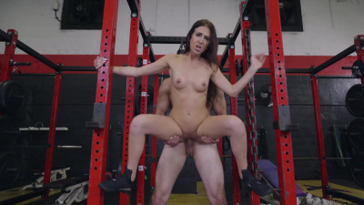Aubrey Rose fucking her trainer's monster cock in an empty gym