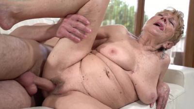Naughty granny Malya eaten out & fucked by a young stud