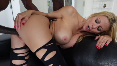 Busty blonde milf Alexis Fawx barely fits black monster cock inside of her