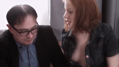 Old teacher screwing student's tight pussy after classes