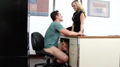 Two milf teachers tag team their well hung student in the classroom
