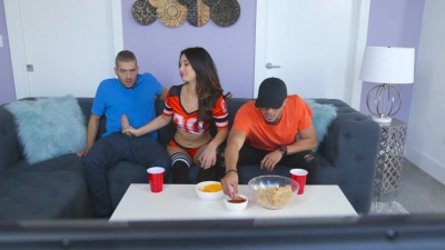 Eva Lovia rough fucked after a bj by her bf's buddy during football match