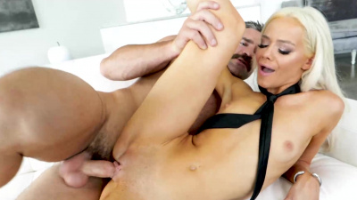 Petite Elsa Jean mounts and rides big white dick