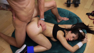 Busty asian Jade Kush full body workout with a help of a big dick