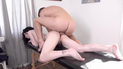 Black Angel surrenders to masseur's talents as well as his big erected cock