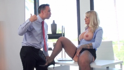 Boss Ryan Conner takes her employee' cock between her tits & ass cheeks