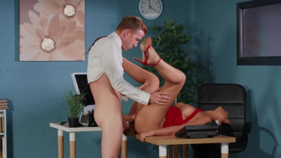 Beautiful latina Julia De Lucia confronts her husband's shifty accountant
