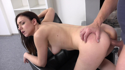 Dark-haired hottie Kira Axe focuses only on playing with the cameraman's cock