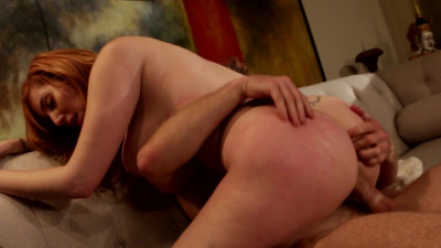 Beautiful ginger Lauren Phillips makes guy cum all over her giant boobs