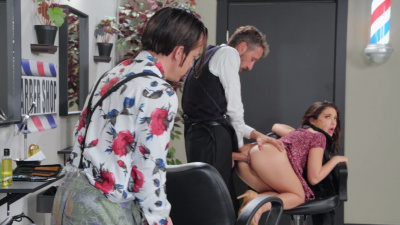 Jane Wilde gets special attention to her pussy and ass from a perverted barber