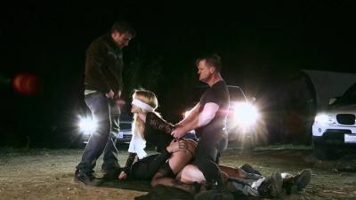 Blindfolded Jessica Drake gangbanged by 3 criminals