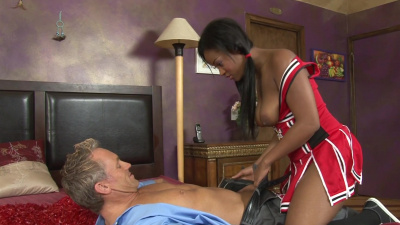 Sexy cheerleader Monique Symone seduces her white coach