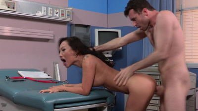 Nurse Asa Akira performs some anal treatment to her patient