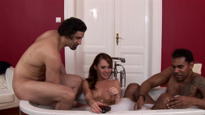 Zuzana Z sandwiched between two hung studs