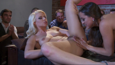 Girlfriends Abigail Mac and Anikka Albrite make each other cum in front of a crowd