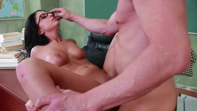 Professor fulfills his fantasies with beautiful student Madelyn Monroe