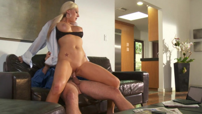 Office slut Skyler Price gives deepthroat and reverse cowgirl ride