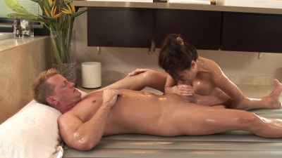 Jackie Lin tugging lubed cock for 300 dollars