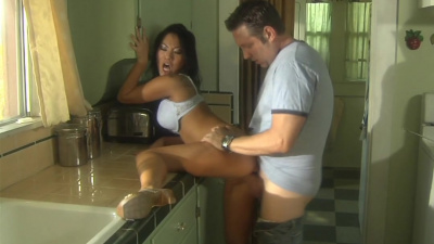 Japanese Asa Akira getting drilled in piledriver position