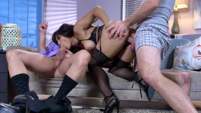 Asian Mia Li gets double dicked & glazed by her ex bf and a stranger